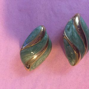 Teal and gold Avon clip earrings